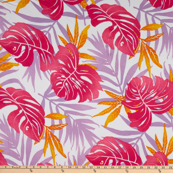 Fabric Merchants Double Brushed Poly Stretch Jersey Knit Tropical Leaves Pink Fabric Com Check this out in my redbubble store fabric com