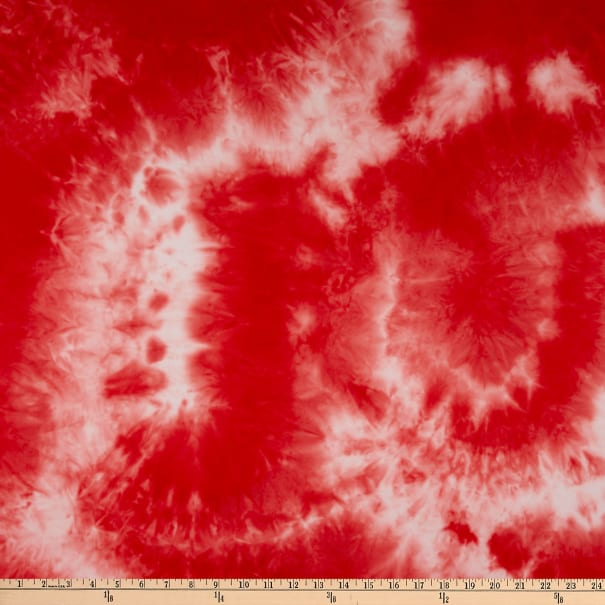 Fabric Merchants Double Brushed Poly Stretch Jersey Knit Hand Tie Dye Red/Ivory