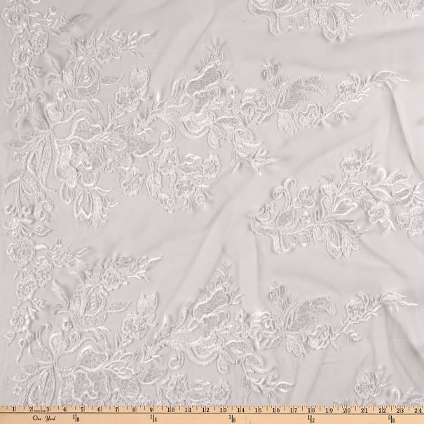 Bridal Corded Mesh Embroidery Ivory