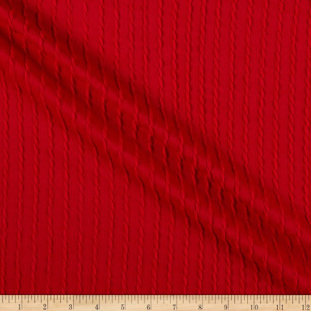 Telio Milo Novelty Stretch Cable Knit Red