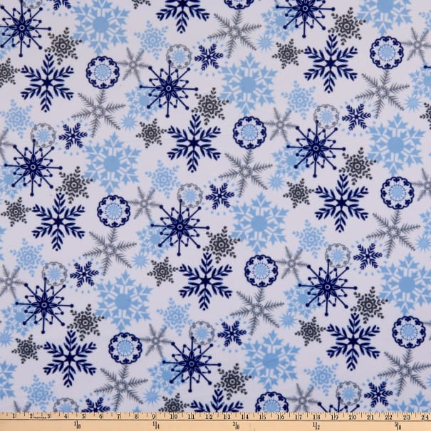 Exclusive Shannon Studio Digital Minky Cuddle Snow Crystal Navy