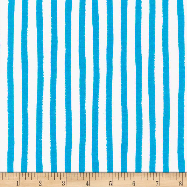 Kaufman Dot and Stripe Delights Stripes Turquoise