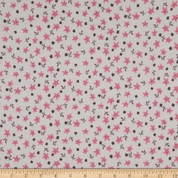 Fabric Merchants French Terry Stretch Knit Mini Floral Pink/Ivory