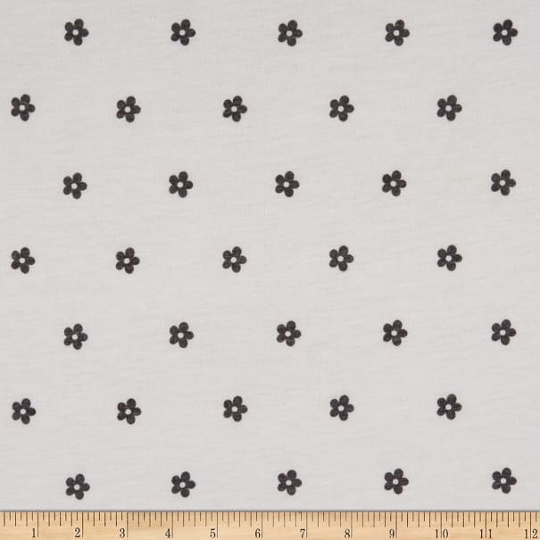 Fabric Merchants French Terry Stretch Knit Ditsy Floral Black/Ivory