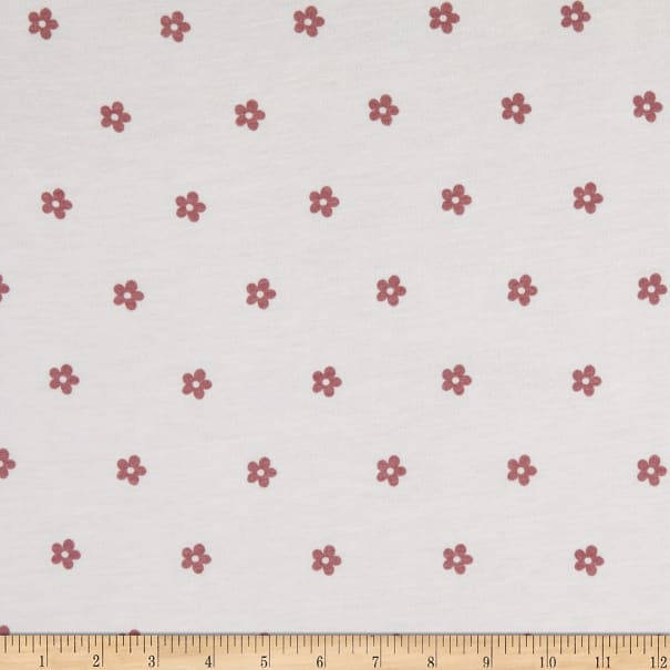 Fabric Merchants French Terry Stretch Knit Ditsy Floral Mauve/Ivory