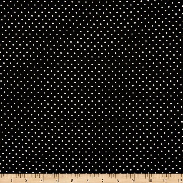 Fabric Merchants Double Brushed Poly Jersey Knit Pin Polka Dot Black/Ivory