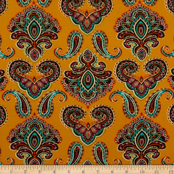 Fabric Merchants Double Brushed Poly Jersey Knit Paisley Mustard/Teal