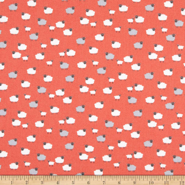 Makower Spring Sheep Pink Fabric Per 1//4 Metre