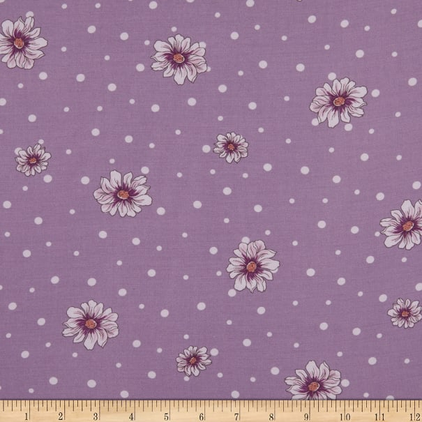 Fabtrends Rayon Soleil Floral On Dots Lilac Violet Ivory