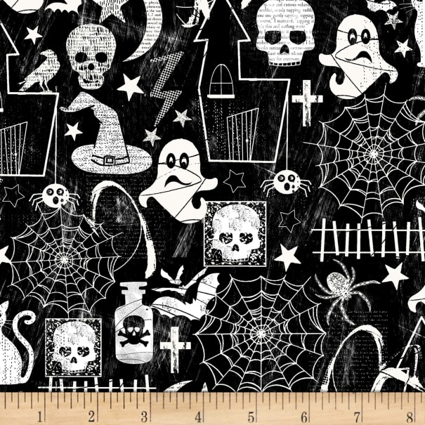 Timeless Treasures Glow In The Dark Halloween Motifs Black