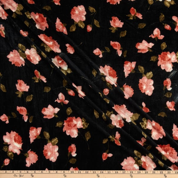 Fabric Merchants Stretch Velvet Watercolor Roses Black/Coral
