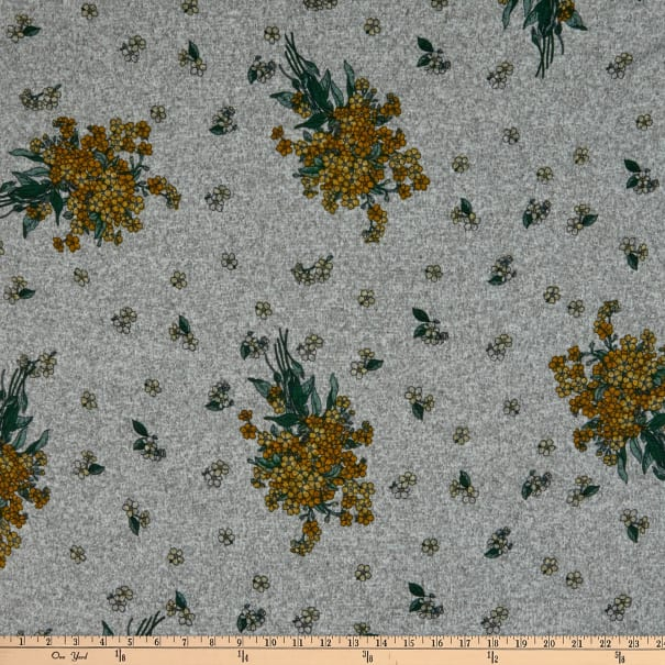 Fabric Merchants Retro Hacci Sweater Knit Stretch Flower Clusters Gray/Gold