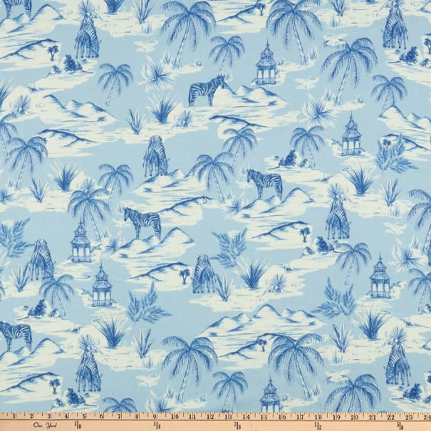 Fabtrends Digital Rayon Soleil Zebra And Palm Tree Blue Ivory