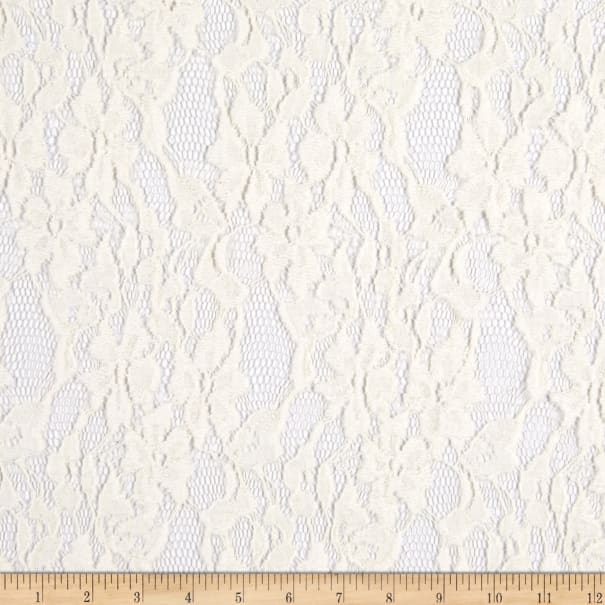 Fabric Merchants Splendid Apparel Brushed Floral Cotton Nylon Stretch Lace Ivory