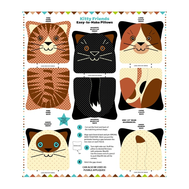 """Snuggle Pillows 36"""" Panel Kitty Friends"""