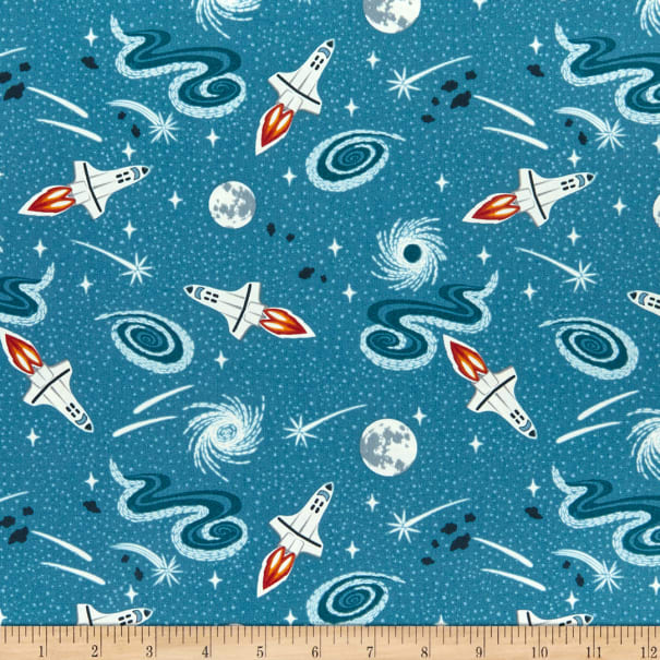 Lewis /& Irene /'Light Years/' Bright Blue Shooting Stars Glow in the Dark Quiltin