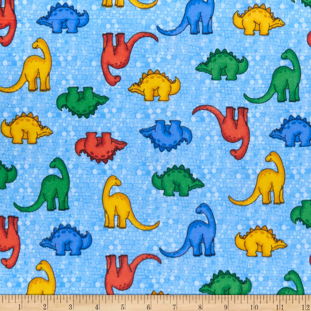 Comfy (R) Flannel Print Multicolored Dinosaurs