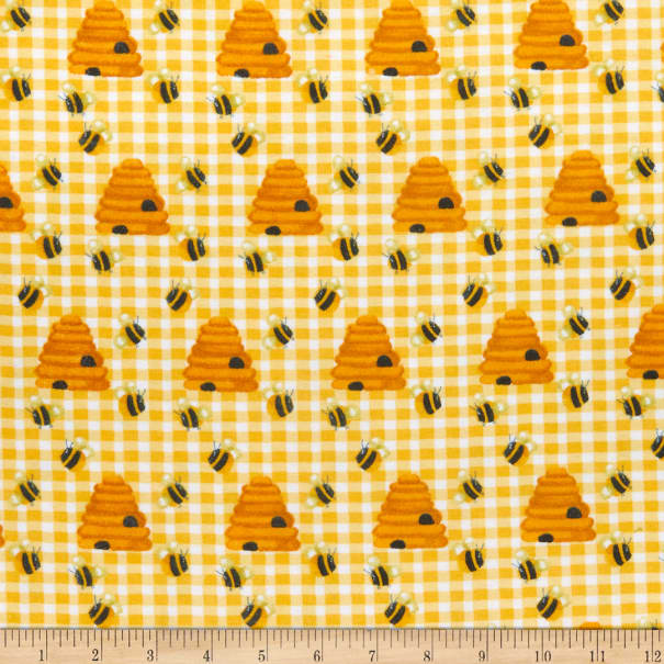 Comfy (R) Flannel Print Bee'S & Beehives Yellow Check