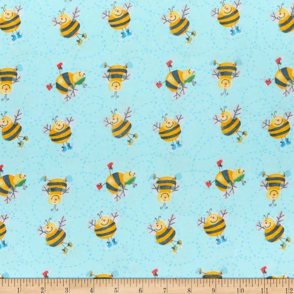 Comfy Flannel Print Happy Bees Blue