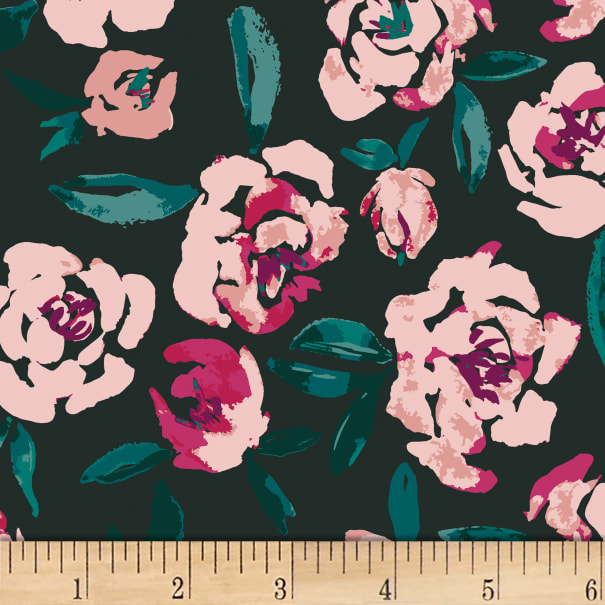Art Gallery Fields of Foresta Rayon Pink/Teal/Black