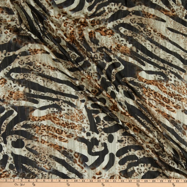 Telio Palo Metallic Polyester Chiffon Animal Print Brown Black