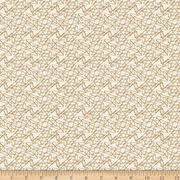 Stoffabric Denmark Magic Christmas Zig Zag Lines Cream Gold