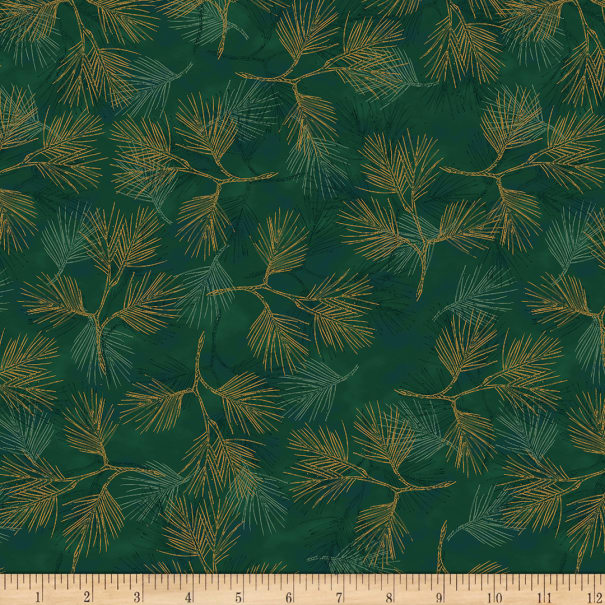 Stoffabric Denmark Magic Christmas Pine Branches Green Gold