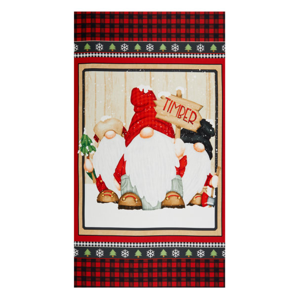 """Henry Glass Timber Gnomies Gnome 24"""" Panel Red/Black"""