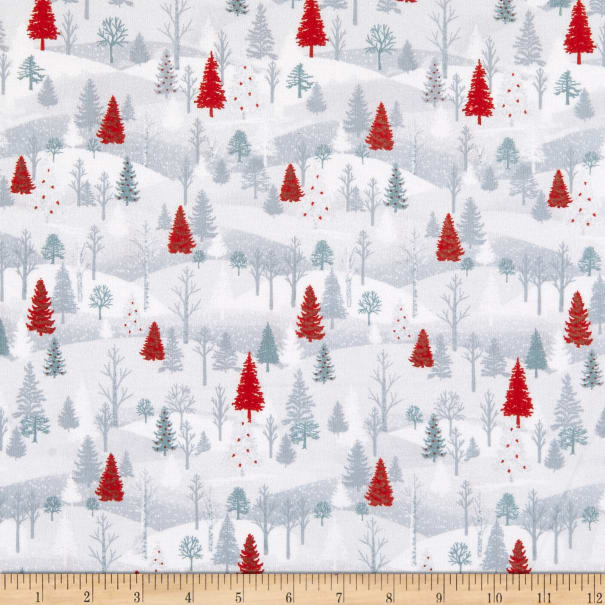 Henry Glass Flannel Winter Frost Small Forest Scene Gray/Red