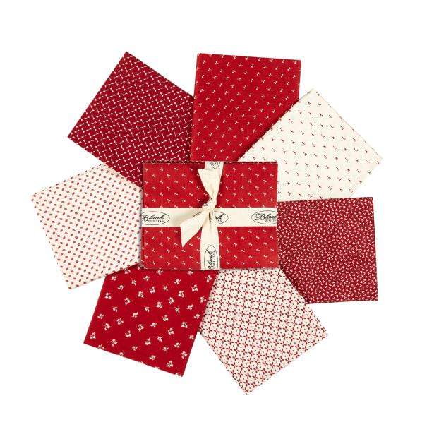 Stoffabric Denmark Nellies Shirtings Assorted Fat Quarters 7pcs Red