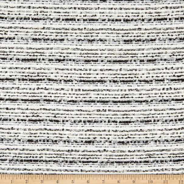 Italian Designer Viscose Poly Tweed Suiting White/Black