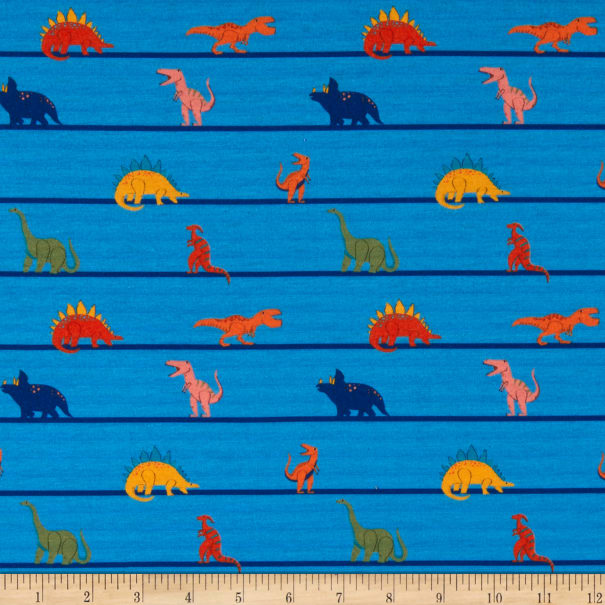 E.Z. Fabric Exclusive Polyester Jersey Knit Dino Lines Blue