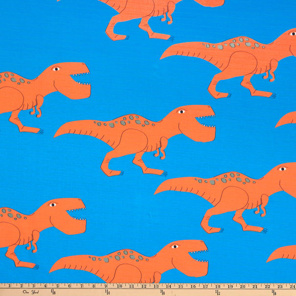 E.Z. Fabric Exclusive Polyester Jersey Knit T-Rex Dino on Spun Polyester Jersey Knit Orange