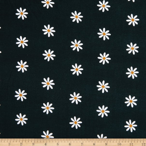 E.Z. Fabric Exclusive Polyester Jersey Knit Itsy Daisy Black/White