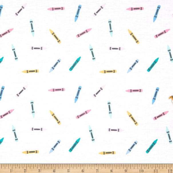 E.Z. Fabric Exclusive Polyester Jersey Knit Crayons White
