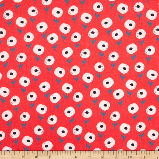 E.Z. Fabric Exclusive Polyester Jersey Knit London Flower Red