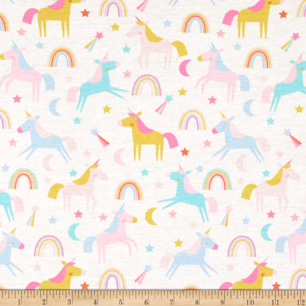 Exclusive Polyester Jersey Knit Chasing Rainbows Cream