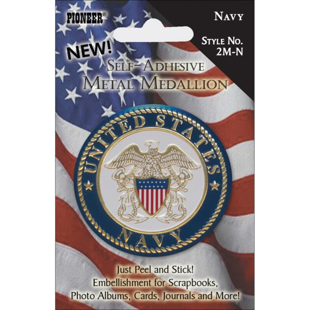 "Pioneer Military Self-Adhesive Metal Medallion 2""-Navy"