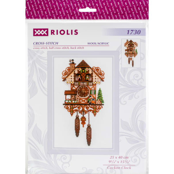 """RIOLIS Counted Cross Stitch Kit 9.75""""X15.75""""-Cuckoo Clock (14 Count)"""