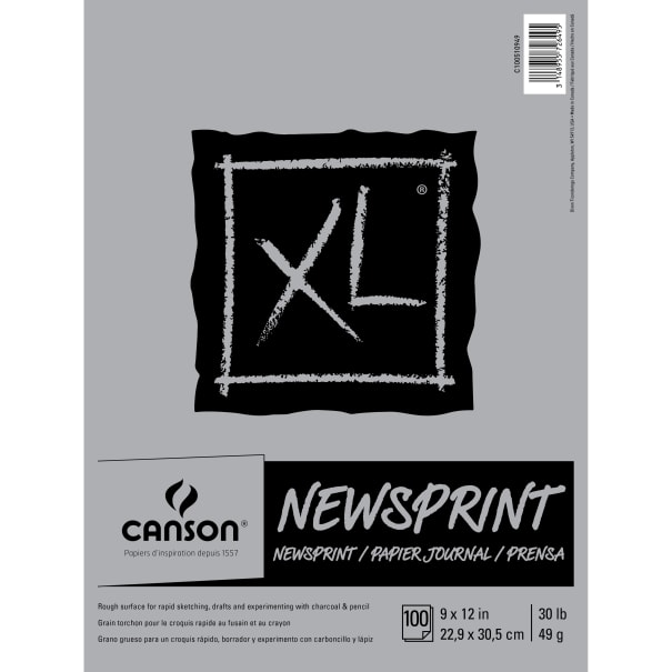 "Canson XL Rough Newsprint Paper Pad 9""X12""-100 Sheets"