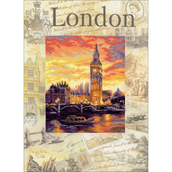"""RIOLIS Stamped Cross Stitch Kit 11.75""""X15.75""""-Cities Of The World: London (14 Count)"""