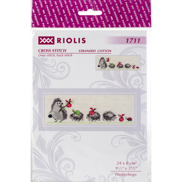 """RIOLIS Counted Cross Stitch Kit 9.5""""X3.25""""-Hedgehogs (14 Count)"""