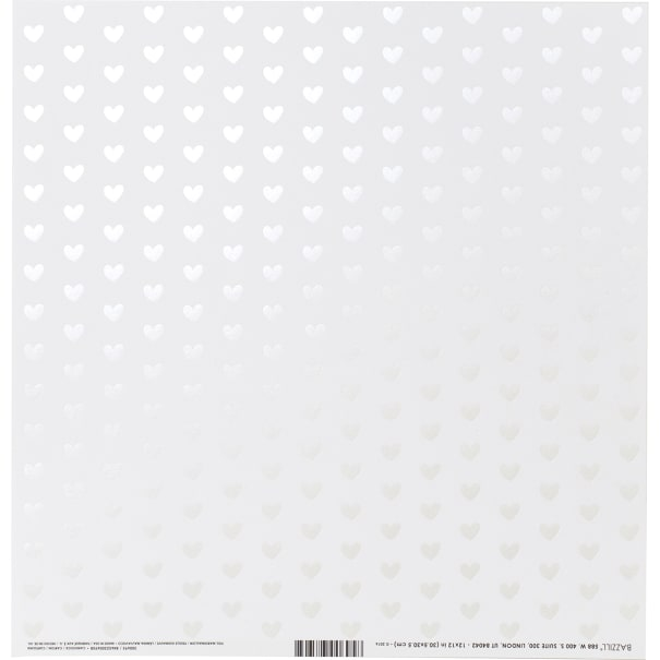 """Bazzill Foiled Pattern Cardstock 12""""X12""""-Heart W/White Pearl, Marshmallow"""