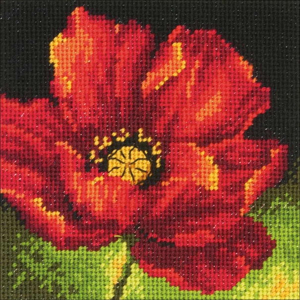 """Dimensions Mini Needlepoint Kit 5""""X5""""-Red Poppy Stitched In Floss"""