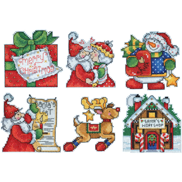 "Design Works Plastic Canvas Kit 3""X4""-Santa's Workshop Ornaments (14 Count)"