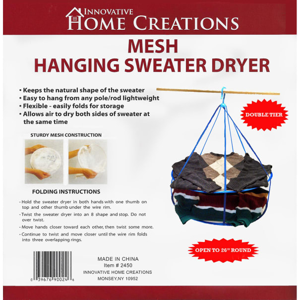 """Innovative Home Creations Mesh Hanging Sweater Dryer-26"""" White"""