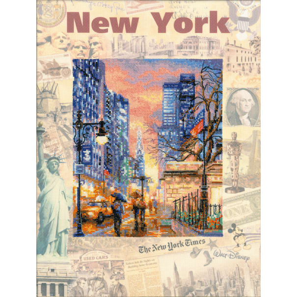 """RIOLIS Stamped Cross Stitch Kit 11.75""""X15.75""""-Cities Of The World: New York (14 Count)"""