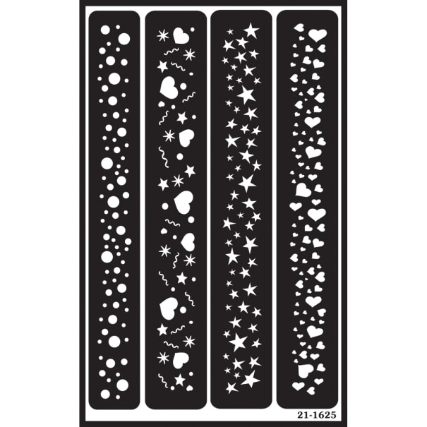 """Over 'N' Over Reusable Stencils 5""""X8""""-Sparkle Borders"""