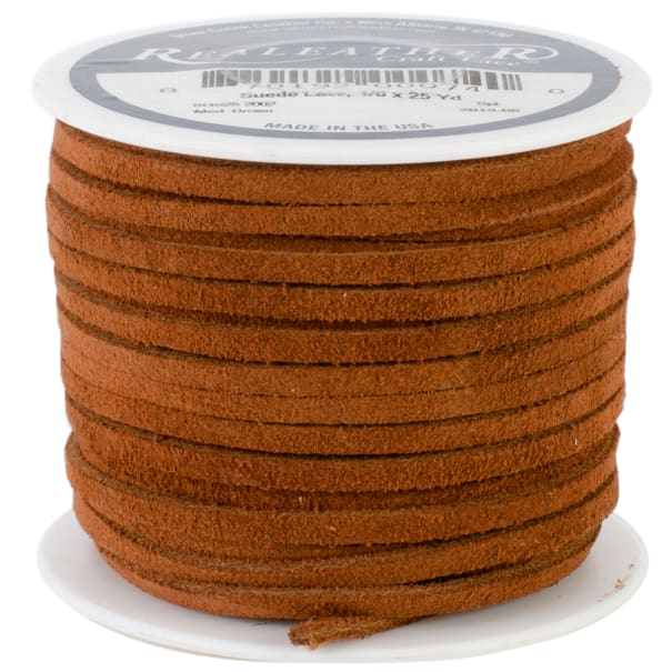 """Realeather Crafts Suede Lace .125""""X25yd Spool-Medium Brown"""