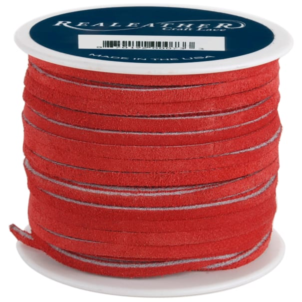 """Realeather Crafts Suede Lace .125""""X25yd Spool-Red"""